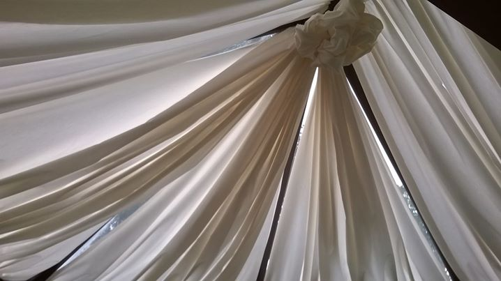 Tented a conservatory roof with lining fabric, helps to keep the heat out and makes it feel more...